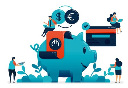 Plan investment for retirement, property, school, investment with banking services. Financial planning consultant, saving and donate with piggy bank, illustration of website, banner, software, poster