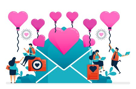 love letter for couple on valentine day, wedding, engagement. pink heart balloon for success in romantic relationship. decoration of happiness Illustration of website, banner, poster, invitation, card Ilustração