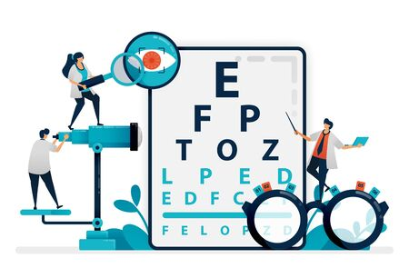 Doctor checks patient eyes health with snellen chart, glasses for eye disease. eye clinic or optical eyewear store. optician professional. Illustration for business card, banner, brochure, flyer, ads