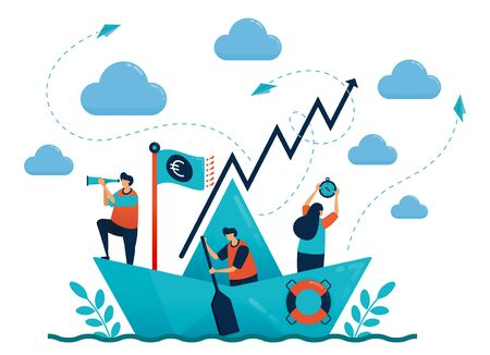 Leadership in leading and organizing. Origami paper ship. Motivation and competition in career. Set target and goal. Teamwork and collaboration. Illustration for business card, banner, brochure, flyer