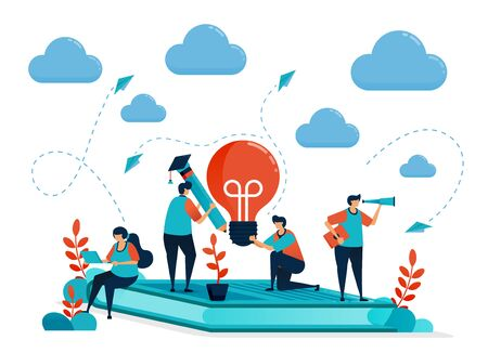Ideas and inspiration in learning and education. People sitting on books. Modern online learning. Lamp bulb and pencil. Education business. Illustration for business card, banner, brochure, flyer