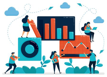 Market statistical analysis. Business chart data. Work with statistics data. Economic and business growth. Planning startup company. Vector illustration, graphic design, card, banner, brochure, flyer Ilustração