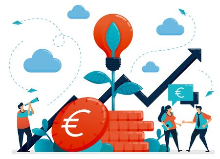Ideas for investment. Bank interest and savings growth. Light bulb metaphor in euro coin plant. Mutual funds for banking investment. Vector illustration, graphic design, card, banner, brochure, flyer Ilustração