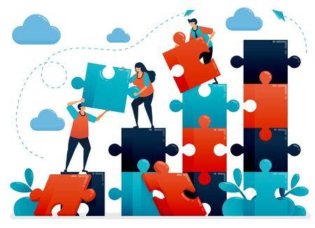 Teamwork and collaboration by solving puzzles. Metaphors understand business chart. Cooperate for company. Challenges and problems. Vector illustration, graphic design, card, banner, brochure, flyer Ilustração