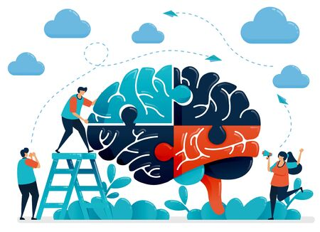 Brainstorming to solve brain puzzles. Metaphor for teamwork and collaboration. Intelligence in handling challenges and problems. Vector illustration, graphic design, card, banner, brochure, flyer