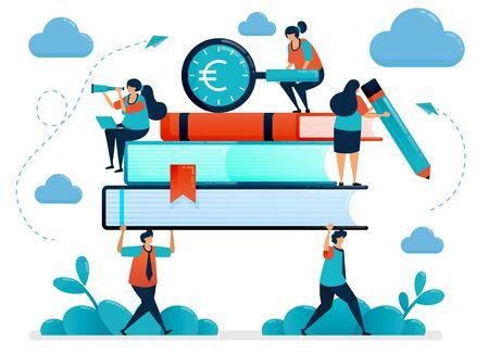 Metaforen van de last van onderwijskosten. Studenten dragen zware boeken. Op zoek naar studiefinanciering. Gratis schoolbeursprogramma. Vectorillustratie, grafisch ontwerp, kaart, banner, brochure, flyer