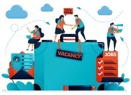 Hiring recruitment design. Job vacancy. Were hiring employee. Open vacancy design template. Briefcase and email cv resume. Jobs career. Vector illustration for business card, banner, brochure, flyer