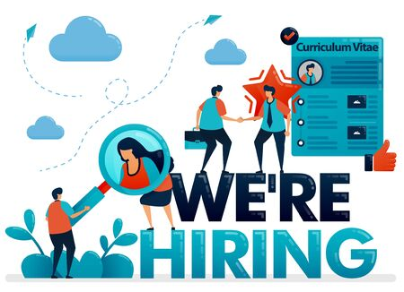 Were hiring posters with curriculum vitae profile to apply for job. Open recruitment and vacancies, get the best talent for company position. Illustration for business card, banner, brochure, flyer Ilustração
