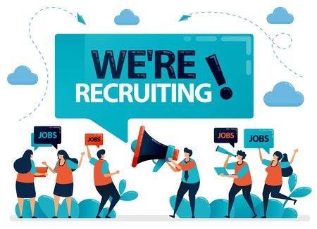 Publicist holds a megaphone and announces we're hiring. Job seekers applying for jobs. Employment opening, recruitment agencies ads. Vector illustration for business card, banner, brochure, flyer