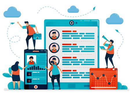 Digital hiring and recruitment by using mobile to choose employees. Job applicant profile and data. Vacancies and apply for jobs online. Vector illustration for business card, banner, brochure, flyer Ilustração