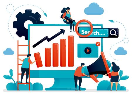 Optimize seo with advertising and planning strategies. Internet business development and research. Marketing and promotion. Flat vector human illustration for landing page, website, mobile, poster Ilustração