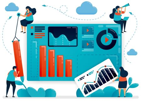 Teamwork to build a business portfolio. Chart and diagram for analyzing strategy. Company growth statistic. Developing startup. Flat vector human illustration for landing page, website, mobile, poster