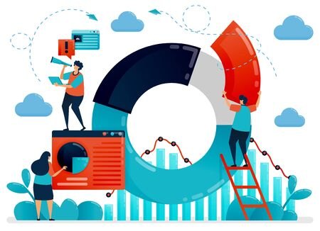 Company strategy with statistical data on pie chart and graph. Plan and research to optimize business performance and growth. Flat vector human illustration for landing page, website, mobile, poster