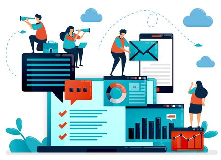 Analyze statistic and data on company report. Laptop dashboard for accounting job. Optimize mobile digital services for work. Flat vector human illustration for landing page, website, mobile, poster Ilustração