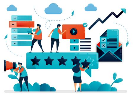 5 star for best content on social media. Choose content with highest rating. Give feedback for digital content, video, article. Flat cartoon character for landing page, website, mobile, flyer, poster