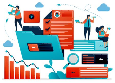 Managing the work folder to streamline company performance. Organize documents and data in folders for increase business growth. Flat cartoon character for landing page, website, mobile, flyer, poster Ilustração