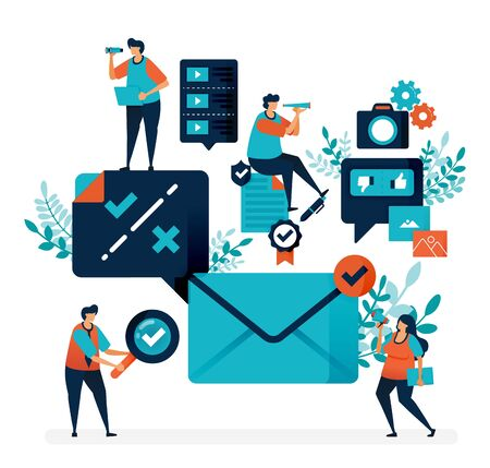 Verification and notification to receive email. Check or cross selection to reply to a message. Simple tick symbol vector illustration for landing page, web, template, mobile apps, ui, flyer, poster Ilustração