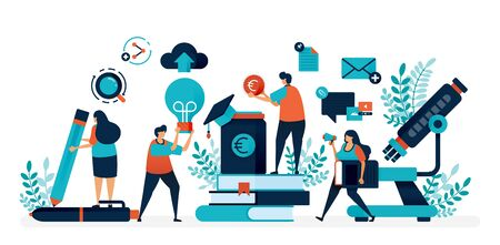 Collect and save money for education and scholarship program. Stack of book for learning and ideas. Flat vector illustration for landing page, web, website, banner, mobile apps, flyer, poster, ui