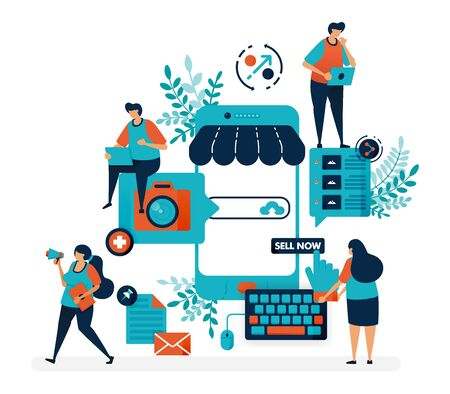 Marketplace platform for selling with smartphone. Create shop or business with a mobile system. Online internet promotion. Flat vector illustration for landing page, web, website, banner, mobile apps