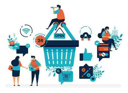 People are around shopping basket to get promos and discounts. User satisfaction level with thumb and love. Flat vector illustration for landing page, web, website, banner, mobile apps, flyer, poster Ilustração