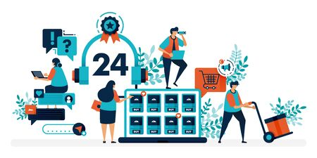 24 hour customer service to help users solve problems. Chatting service helps question with technical issue. Flat vector illustration for landing page, web, website, banner, mobile apps, flyer, poster Ilustração