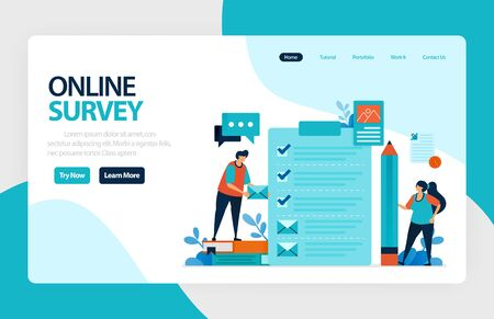 Landing page online survey. Satisfaction feedback, review form service, Exams Choices Flat character for learning and survey consultants. for banner, illustration, web, website, mobile apps, flyer  イラスト・ベクター素材