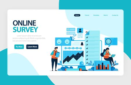 Landing page online survey. Satisfaction feedback, review form service, Exams Choices Flat character for learning and survey consultants. for banner, illustration, web, website, mobile apps, flyer Stock Illustratie