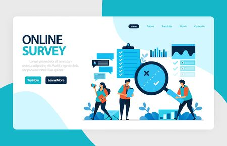 Landing page online survey. Exams Choices Flat character for learning and survey consultants. research feedback opinion, choice checklist. for banner, illustration, web, website, mobile apps, flyer