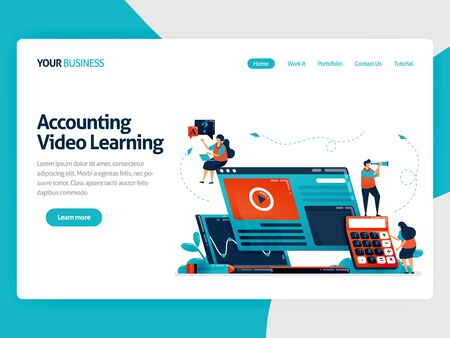 Accounting studies with e-learning. Business education and finance, learning technology, video learning, online financial consulting.Vector illustration, landing page, card, banner, brochure, flyer