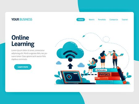 Online learning or e-learning with cloud internet database. Store schoolwork and textbook on laptops. Study modern education technology.Vector illustration, landing page, card, banner, brochure, flyer
