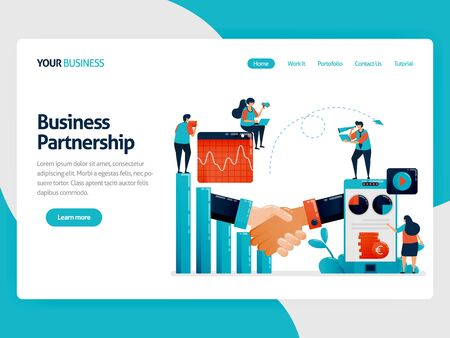 Collaboration to get return on profit and opportunities. Bar chart and diagram. Mobile financial chart. Business analysis. Flat vector human illustration for landing page, website, mobile, poster  イラスト・ベクター素材