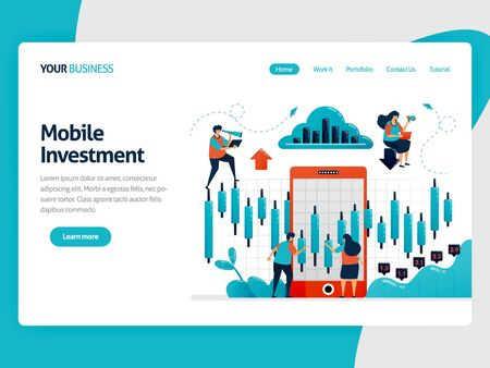 Research and analysis statistical data to choose investment. Mobile platform for finance and funding. Chart and diagram. Flat vector human illustration for landing page, website, mobile, poster, ads