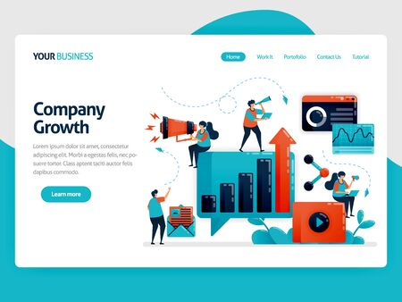 Optimization and developing business growth with advertising and promotion. Internet marketing strategy, planning and analysis. Flat vector human illustration for landing page, website, mobile, poster