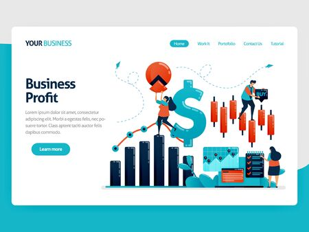 Financial platform to help choose investment. Statistics data for accounting. Analysis of business data and company growth. Flat vector human illustration for landing page, website, mobile, poster  イラスト・ベクター素材