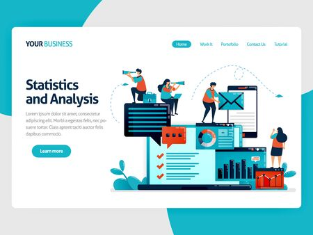 Analyze statistic and data on company report. Laptop dashboard for accounting job. Optimize mobile digital services for work. Flat vector human illustration for landing page, website, mobile, poster  イラスト・ベクター素材