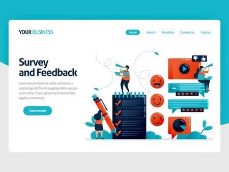Fill out survey for feedback. Emoticon in comments. User ratings in services. Assessment to improve experience. Exam and questionnaire. Flat character for landing page, website, mobile, flyer, poster Stock Illustratie