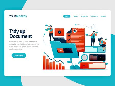 Managing the work folder to streamline company performance. Organize documents and data in folders for increase business growth. Flat cartoon character for landing page, website, mobile, flyer, poster Stock Illustratie
