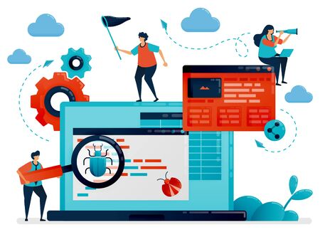 Application development process for testing and debugging. Antivirus software for catching bugs. Debugging, programming and coding to create apps. Programmer building websites. Vector illustration
