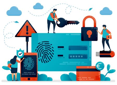 Fingerprint recognition technology for user id security. Finger touch scanner app to secure personal information data. Cyber security protection identification for protect payment. Fingerprint login