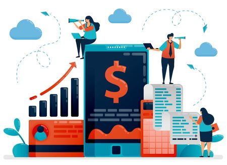 Mobile business and investment check device. Accounting apps and software for improving company performance. Flat character vector illustration for landing page, web, banner, mobile apps, poster, ads