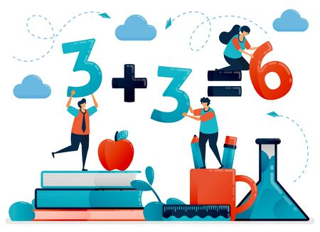 Education for children. Mathematic lesson to count and number. Kids learning in school. Preschool kindergarten. Flat character vector illustration for landing page, web, banner, mobile apps, poster  イラスト・ベクター素材