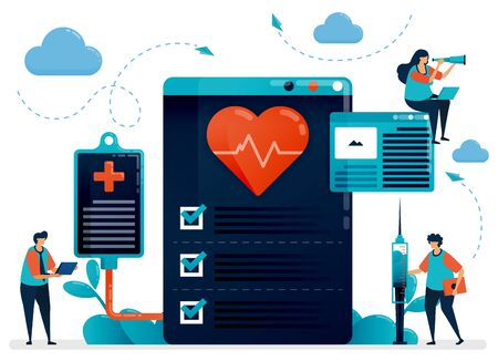 Medical cardiology check up for health. Hospital, clinic, laboratory for diagnosing and treating heart disease,. Flat character vector illustration for landing page, web, banner, mobile apps, poster