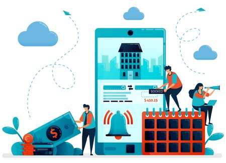 Reservation, booking, order, purchases for hotel room and apartment. Mobile apps services for traveling and trip. Flat character vector illustration for landing page, web, banner, mobile apps, poster