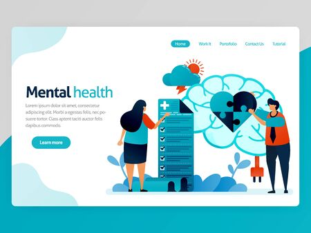 Mental health illustration. People check mentally and psychologically. Heart puzzle. Brain treatment and counseling therapy. Vector cartoon for website homepage header landing web page template apps Stock Illustratie