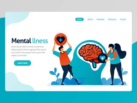 Illustration of mental illness. People love to brain problem. Health therapy for trouble people. Mental healing and treatment. Vector cartoon for website homepage header landing web page template apps Stock Illustratie