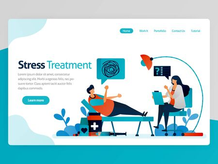 Illustration of stress treatment. Therapy for crazy people. Psychology counseling doctor. Solve life problems. Mental healing. Vector cartoon for website homepage header landing web page template apps