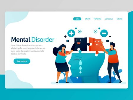 Illustration of mental disorder. Multiple personalities. Negative and positive mind. Sad, happy and loneliness face emotion. Vector cartoon for website homepage header landing web page template apps