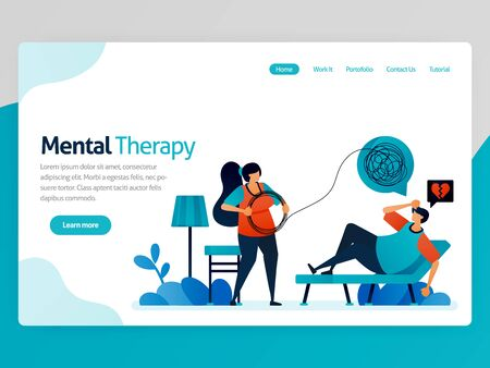 Illustration of mental therapy. Loneliness people counseling to psychiatrist to straighten line of life problems complicated. Vector cartoon for website homepage header landing web page template apps Stock Illustratie