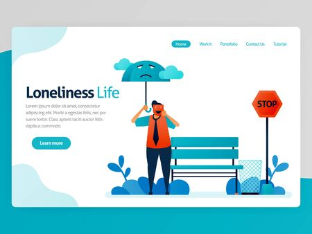Illustration of loneliness life. Feeling lonely, unhappy, alone, sad, useless. Mental illness. Feel failure, not appreciated. Vector cartoon for website homepage header landing web page template apps  イラスト・ベクター素材