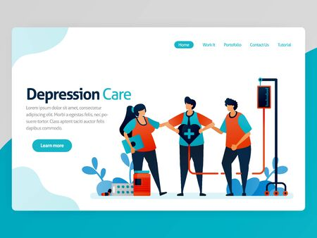 Illustration of depression care. Friends support and awareness in treatment and health therapy. Healing of mental disorders. Vector cartoon for website homepage header landing web page template apps